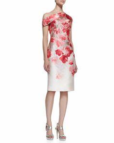 Floral Off-Shoulder Sheath Dress by Lela Rose at Bergdorf Goodman.