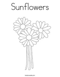 Sunflowers Coloring Page - Twisty Noodle
