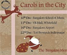 """Ho ! Ho ! Ho! ...Jingle Bells in #Bangalore starts this 10th :)  Hey Bangalore !! Santa's Own The Bangalore Men will be hitting ur city this month... spreading smiles and warmth. Join them & sing with them as they go around with """" #CAROLS IN THE #CITY """"  Book The Bangalore Men @ www.localturnon.com/bookings  #turnON #music 