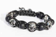 Bracelet crâne acier inoxydable Agate Stone, Stone Beads, Crane, Black Agate, Bracelet Making, Solid Black, Skull, Stainless Steel, Halloween