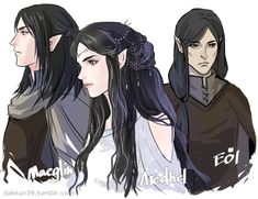 Maeglin, Aredhel, and Eol from The Silmarillion.