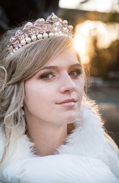 Bridal Tiara Rose Gold Winifred Swarovski Crystal Wedding Crown Rhinestone Diamante