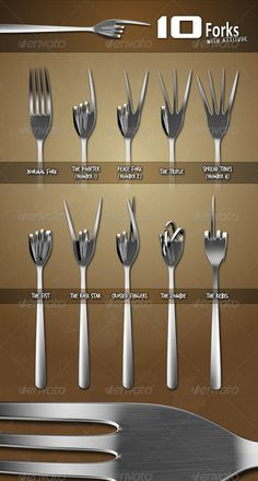 Buy Ten Forks with Attitude by AerisT on GraphicRiver. Add some sizzle to your menu, restaurant advertisement, or food-themed event with this expressive set of ten forks. Metal Art Projects, Welding Projects, Metal Crafts, Woodworking Projects, Fork Art, Spoon Art, Diy Home Crafts, Arts And Crafts, Recycled Silverware