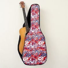 Red white and blue tropical wave guitar case - red gifts color style cyo diy personalize unique