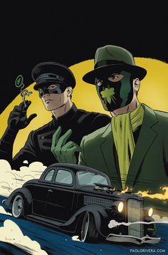 Green Hornet & Kato by Paolo Rivera Comic Book Characters, Comic Book Heroes, Comic Character, Comic Books Art, Comic Art, Bruce Lee, Star Trek, Minions, Mark Waid
