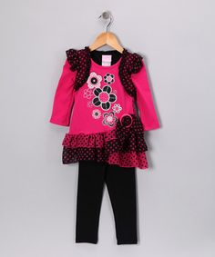 Take a look at this Pink Polka Dot Tunic & Leggings - Infant, Toddler & Girls by Nannette on #zulily today!