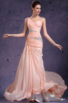 Chiffon tiefe Taile Meerjungfrau eine Schulter Perlen Mittelgröße bodenlanges Ball/ Abendkleid