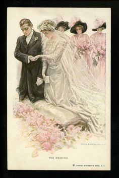 "Artist Signed Vintage Postcard Fisher Moments in Womans Life ""The Wedding"""