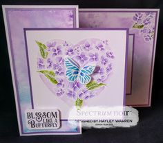 Designed by Hayley Warren.  Z fold card, made using stamps by Cherry Green - Hydrangea Heart.  Coloured with Spectrum Noir aqua markers and Spectrum Noir Sparkle pens: Orchid, Navy, Moss & bud green. Blue Topaz (sparkle pen) #spectrumnoir #aquamarkers #crafterscompanion