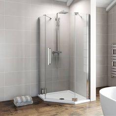 900 Frameless Pentagonal Hinged Enclosure Pack Right Hand - Victoria Plumb - includes shower tray Quadrant Shower Enclosures, Frameless Shower Enclosures, Modern Bathroom, Small Bathroom, Bathroom Ideas, Bathrooms, Bathroom Faucets, Safety Glass, Bathroom Renovations