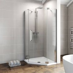 V8+ 900 Frameless Pentagonal Hinged Enclosure Right Hand - Victoria Plumb - £239.99 excludes shower tray