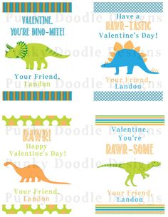 Printable Dinosaur Valentine Cards by punkydoodlekids on Etsy Dinosaur Valentines, Doodle Designs, Valentine Cards, Holiday Fun, Card Stock, Doodles, Printables, Prints, Kids