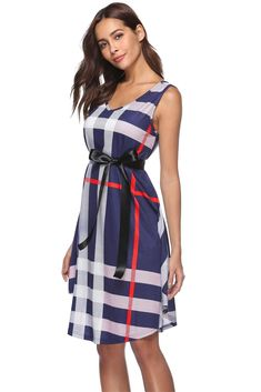 a364de43083 Luyeiand Womens Summer Plaid Striped Sleeveless V Neck Belted ALine Casual  Midi Dress    Read more at the image link. Fashion Shop