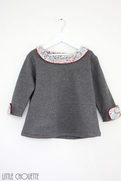 Sweat col rond en liberty By Little Chouette