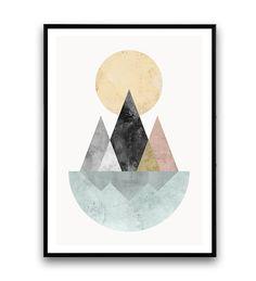 Bergen afdrukken aquarel print geometrische muur door Wallzilla