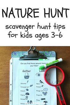 If your kids are very young and need a bit of motivation for your hike or if you are new to hiking and worried they will become bored, a scavenger hunt is just Preschool Games, Sensory Activities, Infant Activities, Toddler Preschool, Learning Activities, Teaching Resources, Outdoor Activities For Kids, Fun Crafts For Kids, Outdoor Learning