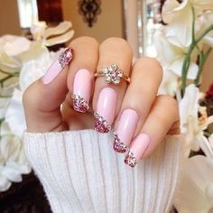 Pink #Nails With Gems By Dianaki.