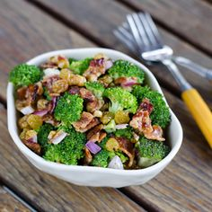 Broccoli salad with bacon is a perfect side dish for a summer barbecue. #paleo #glutenfree #dairyfree Click for recipe.