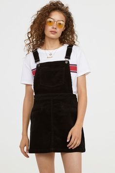 e34fc5566 Corduroy Bib Overall Dress - Black - Ladies | H&M US 1 Black Pinafore Dress  Outfit
