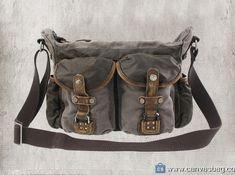 Genuine-Leather-Canvas-Shoulder-Bag-Vintage-Messenger-Bag-3 Military Messenger Bag, Vintage Messenger Bag, Laptop Messenger Bags, Canvas Messenger Bag, Canvas Leather, Leather Bags, Canvas Shoulder Bag, Satchel, Magic