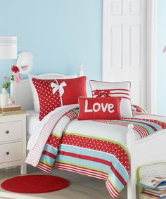Take a look at this Red & White American Sweetheart Comforter Set by Victoria Classics on #zulily today! adorable.