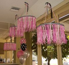 ribbon chandeliers, can do in any color ,polka dot balloons adorable Grad Parties, Birthday Parties, Ribbon Chandelier, Barbie Party, Diy Ribbon, Spa Party, Princess Party, Princess Room, Girl Birthday