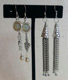 Chain & Rivoli Earrings | Funky Hannah's
