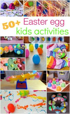 50+ Ways to learn, play and create  with plastic Easter eggs. Fun science experiments, math games, craft projects... lots of ideas!
