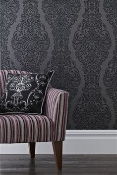 Black Damask Wallpaper from the Next UK online shop