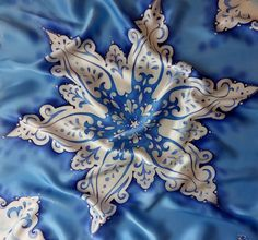 square silk scarf , gift for women, hand-painted silk scarf, blue scarf snowflake