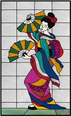 Geisha Fan Dance stained glass window is priced for a 16 x 26 with gorgeous multi-color stained glass. This panel can be customized with colors/size to fit your space upon request. Glass Painting Patterns, Glass Painting Designs, Stained Glass Designs, Stained Glass Patterns, Stained Glass Art, Stained Glass Windows, Paint Designs, Fabric Painting, Henna Designs