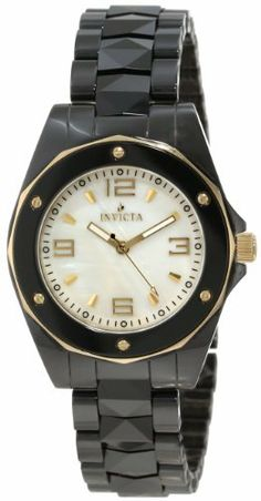 Invicta Women's 10262 Ceramic White Mother-Of-Pearl Dial Watch Invicta. $139.95. White Mother-Of-Pearl dial with gold tone hands, hour markers and arabic numerals; luminous; 18k gold ion-plated stainless steel bezel with black ceramic ring and gold tone accents; 18k gold ion-plated stainless steel crown. Swiss quartz movement. Water-resistant to 100 M (330 feet). Gold tone second hand. Flame-fusion crystal; black ion-plated stainless steel case; black ceramic bracelet