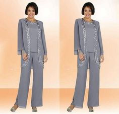 2015 New Mother of the Bride Pants Suits with Long Sleeve Jacket Sheath Chiffon Crew Neck with Embroidery Formal Mothers Suit, $112.41 | DHgate.com