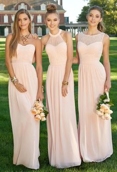 illusion neckline blush pink bridesmaid dresses