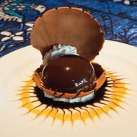 """""""Polynesian Black Pearl Chocolate Mousse and Lilikoi Cream""""- try this at Mama's Fish House in Maui- HEAVEN!"""