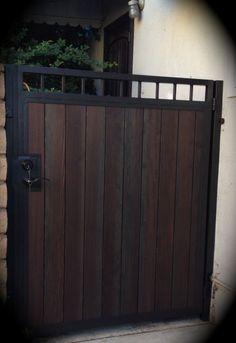 Steel Framed Wood Gates - Custom Steel Framed and Wood Framed Gates In Lakewood and Bellflower Fence Gate Design, Front Gate Design, Door Design, Metal Gates, Wooden Gates, Wrought Iron Gates, Side Gates, Entrance Gates, Backyard Gates