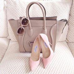 Balenciaga handbag and Jimmy Choo pumps