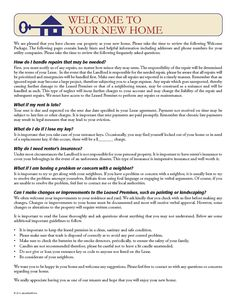 Tenant Welcome Letter   EZ Landlord Forms