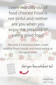 """27 Simple Solutions to Stop Food Cravings Right Now! #26 Leave morality out of it—food is not sinful! How many times have you heard, usually at dessert time, """"we're being sinners tonight?"""" How many foods are called sinfully delicious? What if we accepted that our bodies enjoy pleasurable experiences like eating good food? Acceptance in the fullest sense means honoring your desire for pleasurable experiences with food, non-judgmentally.:"""