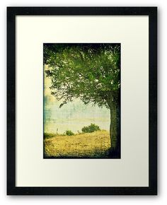 """""""Under The Tree """" Framed Prints   by ARTbyJWP from Redbubble   #artprints #buyart #framedart #walldecor #homedecor ---     Grunge and textured composition of a beautiful wild peer tree framing the view from the hills of Saint Achilles island in the greek region of Prespes. • Also buy this artwork on wall prints, apparel, stickers, and more."""