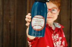 Child's Water Bottle, Vintage Baseball, Red White and Blue, Personalized with your name BPA free