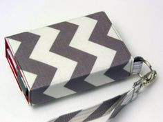 Grey and White Zig Zag Wallet/wristlet/clutch  For by MereBliss, $30.00
