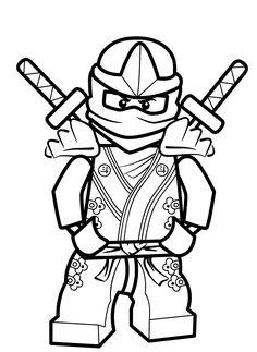 Coloriage et dessin de Ninjago à imprimer - Coloriage ninja vert Lloyd