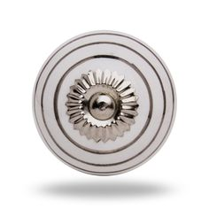 Ceramic Round Knob Silver Circles on White Chrome Finish