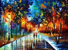 Beautiful Oil Paintings Using Only a Palette Knife Leonid Afremov Night Street, Art Graphique, Oil Painting On Canvas, Oil Paintings, Knife Painting, Rain Painting, Winter Painting, Painting People, Watercolor Painting