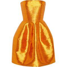 Naeem Khan Strapless Cocktail Dress ($3,076) ❤ liked on Polyvore featuring dresses, orange, slit dress, orange dress, floral print cocktail dress, metallic cocktail dress and strapless cocktail dresses
