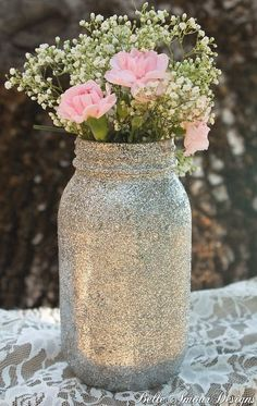 Glitter Mason Jars - Quart Size Set of 12 - available in rose gold, gold, or silver - by Belle Amour Designs (Gold Bottle Centerpieces) Glitter Jars, Glitter Mason Jars, Mason Jar Vases, Mason Jar Centerpieces, Wedding Centerpieces, Wedding Table, Wedding Decorations, Glitter Bomb, Wedding Themes