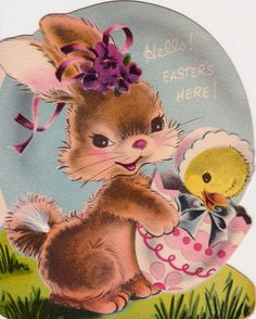 Easter baskets come in all shapes and sizes. Large ones are great for an Easter Egg Hunt or for putting out for the Easter Bunny to. Easter Art, Easter Crafts, Easter Bunny, Happy Easter, Easter Greeting Cards, Vintage Greeting Cards, Costume Lapin, Old Illustrations, Retro