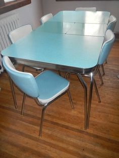 Vintage 1950u0027s Formica Kitchen Table And 6 Vinyl Chrome Chairs Blue Aqua |  EBay