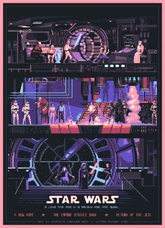 Star Wars Pixel Art Trilogy Poster - Created by Gustavo ViselnerPrints available for sale at his Etsy Shop. Retro Poster, Poster S, Movie Poster Art, Star Wars Poster, Star Wars Art, Poster Ideas, Poster Vintage, Poster Designs, Star Trek